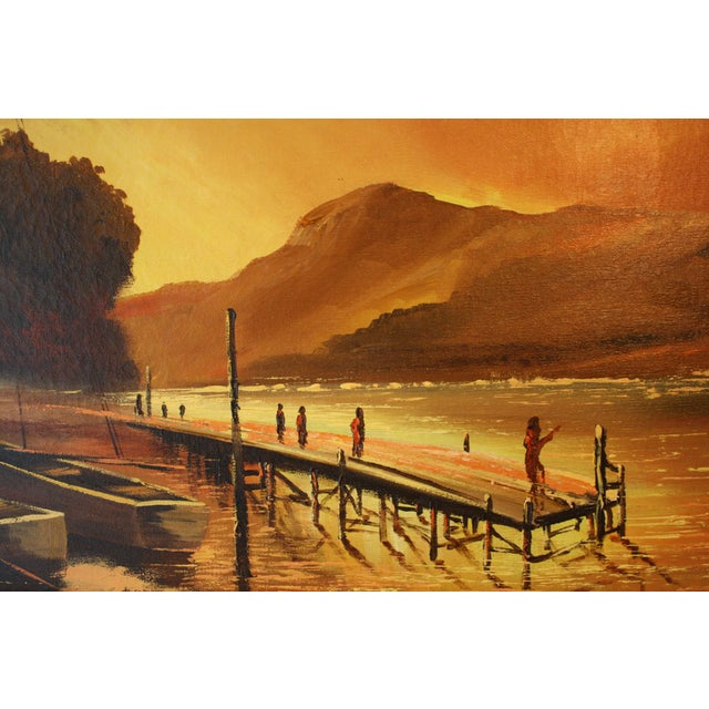 Paint 1970s Vintage Julio Carballosa Original Oil on Canvas Landscape Painting For Sale - Image 7 of 11