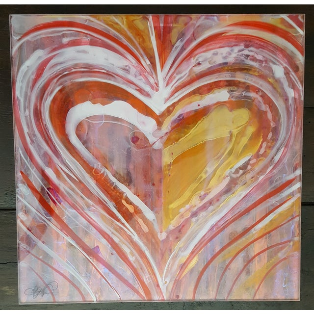 Christopher Martin Heart Paintings - Set of 4 - Image 3 of 10