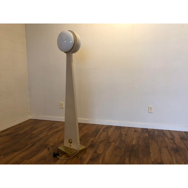 Mid 20th Century Vintage Porcelain Floor Lamp With Three Lighting Options For Sale - Image 5 of 13