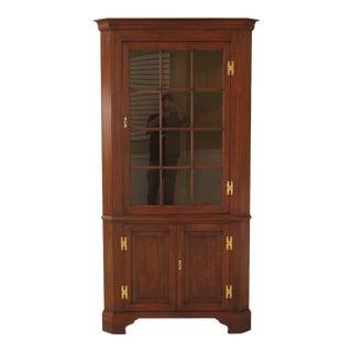 1985 Traditional Henkel Harris 12 Pane Large Mahogany Lighted Corner Cabinet For Sale
