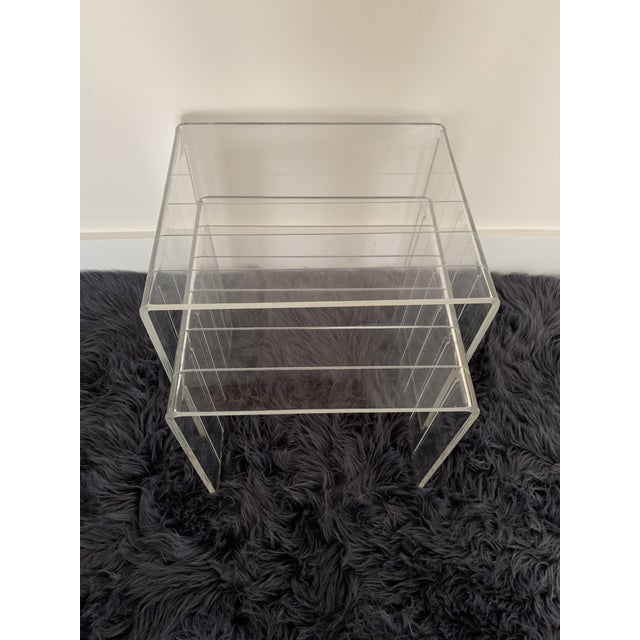 1980s Lucite Nesting Tables - Set of 2 For Sale In Miami - Image 6 of 6