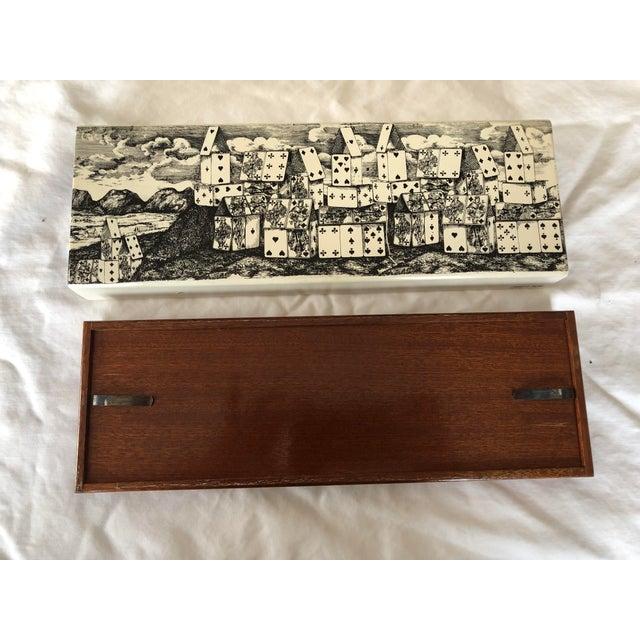 """1970s 1970s Vintage Fornasetti """"Città DI Carte"""" Cigarette Box For Sale - Image 5 of 8"""
