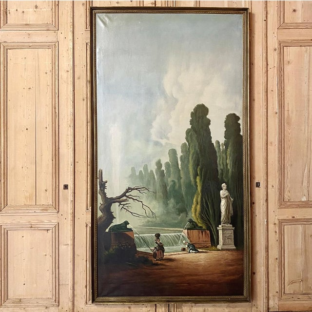 Grand Framed Oil Painting on Canvas by E. Carliez after H. Robert is a spectacular vista of a lavish courtyard scene where...