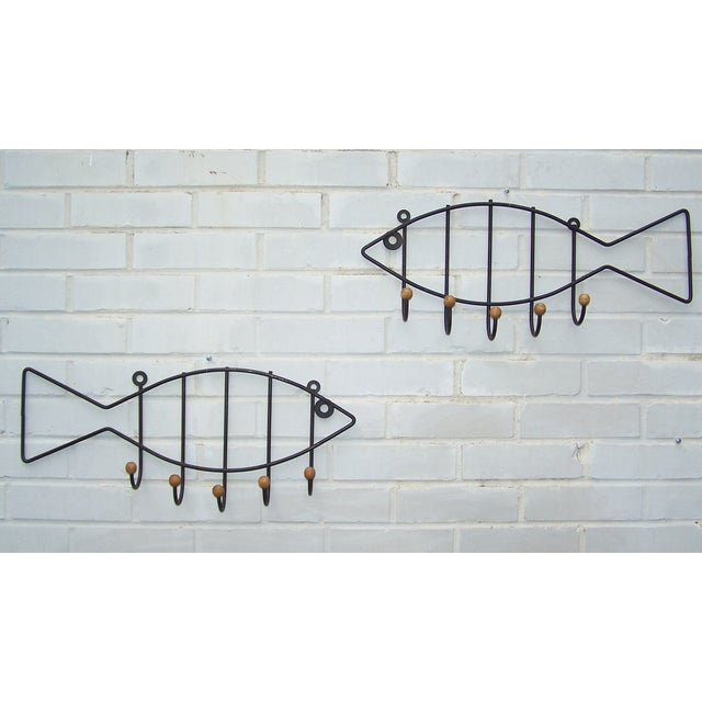 Vintage Pair Iron & Wood Fish Coat Hooks - 2 - Image 3 of 7