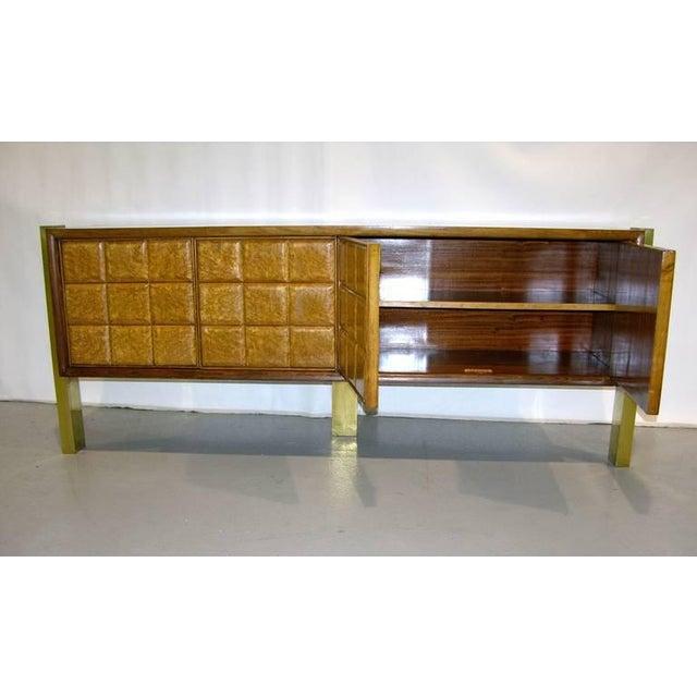 Metal 1940s Minimalist Dark & Light Wood Cabinet Sideboard on Brass Legs For Sale - Image 7 of 12