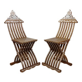 Beautiful Syrian Folding Chairs W/Inlaid Mother of Pearl -A Pair For Sale