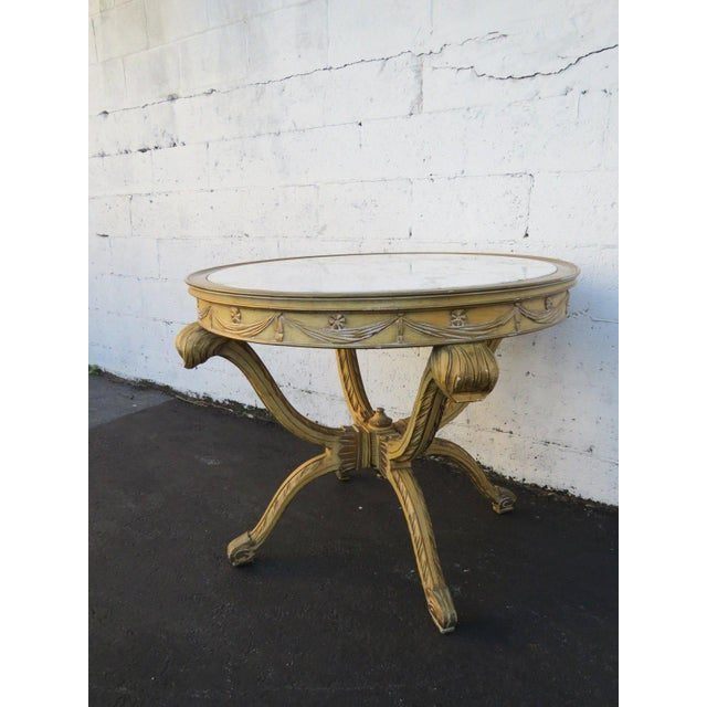 French French Painted Heavy Carved Marble Top Large Center Table For Sale - Image 3 of 11