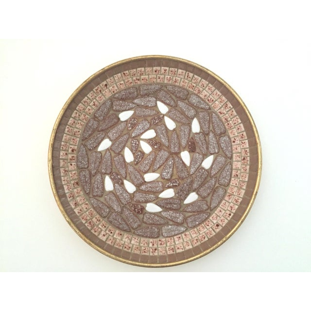 Brown Vintage Mid Century Modern Handcrafted Multi Tone Brown Mosaic Tile Large Bowl For Sale - Image 8 of 9