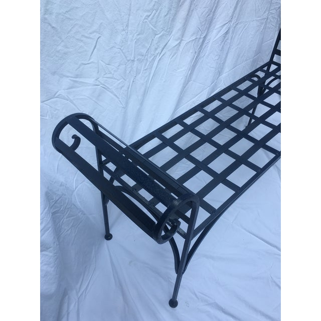 I love a lattice wrought iron bench and using it in unexpected places like at the end of a bed, foyer, mudroom, as well...