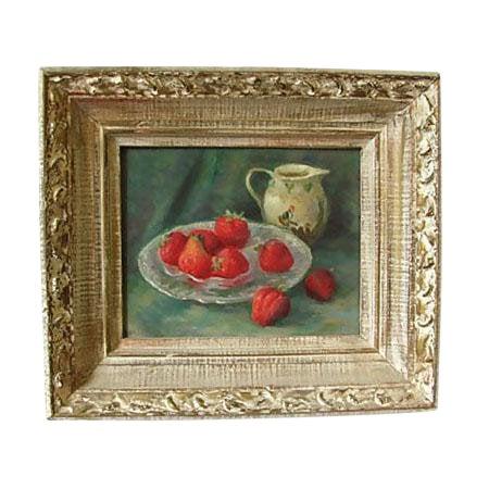1960s Vintage Strawberries Still Life Painting by Caroline Van Hook Bean For Sale