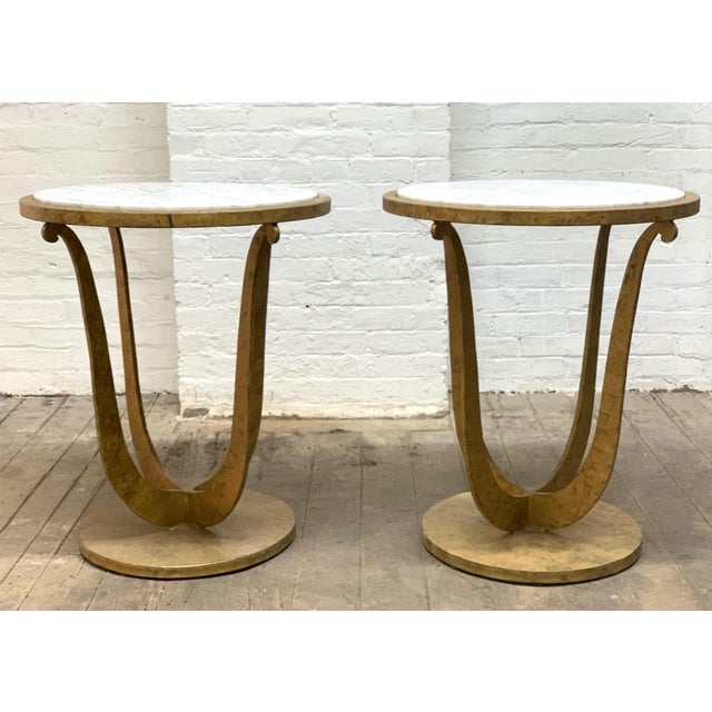 Pair of Gilt Iron and Carrara Marble Top Gueridon Tables For Sale In New York - Image 6 of 6