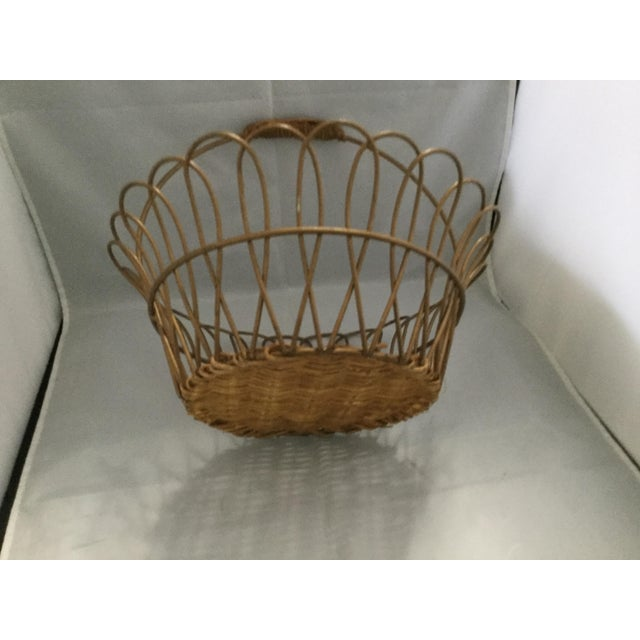 2000 - 2009 Gold Vintage Metal Basket With Bamboo Bottom For Sale - Image 5 of 8