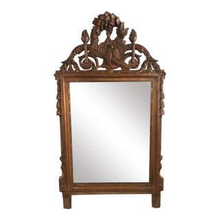 1910s Victorian Style Hand Carved Wood Wall Hanging Mirror For Sale