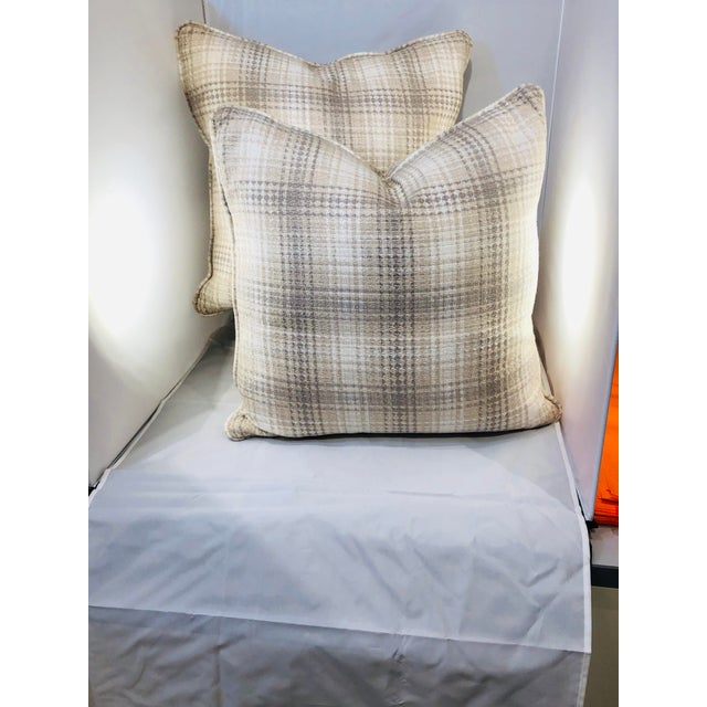 """A beautiful pair of 20"""" square plaid pillows from Robert Allen Fabrics. Made from luxurious cotton, this neutral design is..."""