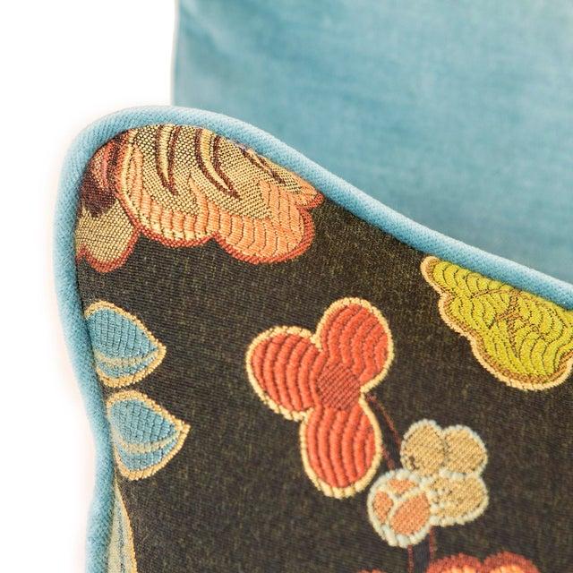 Cherry Blossom and Aqua Velvet Pillows - Pair For Sale - Image 5 of 6