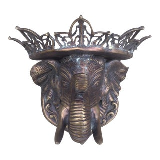 Vintage Solid Brass Elephant Wall Shelf Sculpture For Sale