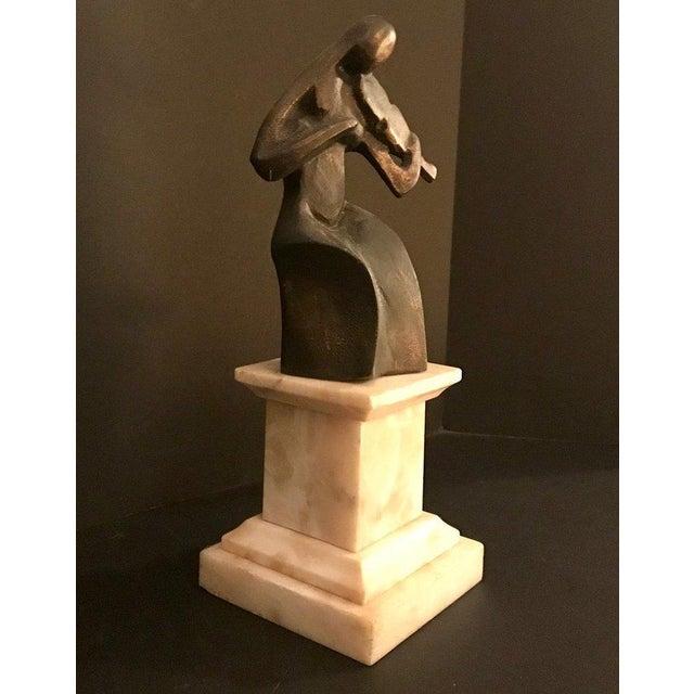 1930s Vintage Art Deco Le Violoniste Cubist Bronze Figural Sculpture For Sale - Image 4 of 9