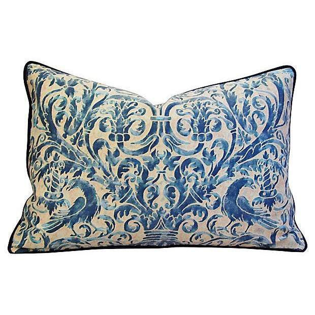 Custom Designer Italian Fortuny Uccelli Feather/Down Pillow (One Pillow) - Image 5 of 10