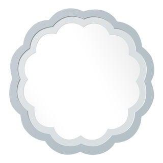 Fleur Home x Chairish Audobon Peony Circle Mirror in Parma Gray, 36x36 For Sale