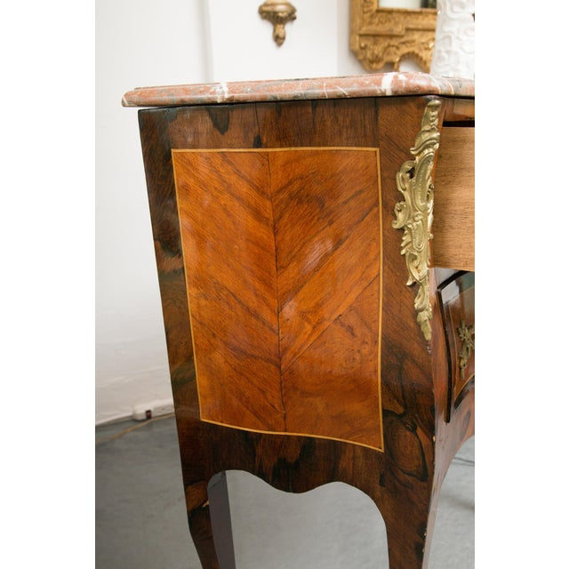Mid 20th Century Louis XV Style Two-Drawer Commode With Marble Top, 20th Century For Sale - Image 5 of 10