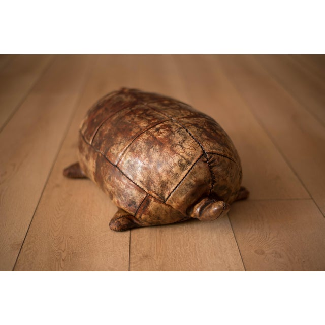 Leather Vintage Abercrombie and Fitch Leather Turtle Footstool by Dimitri Omersa For Sale - Image 7 of 8