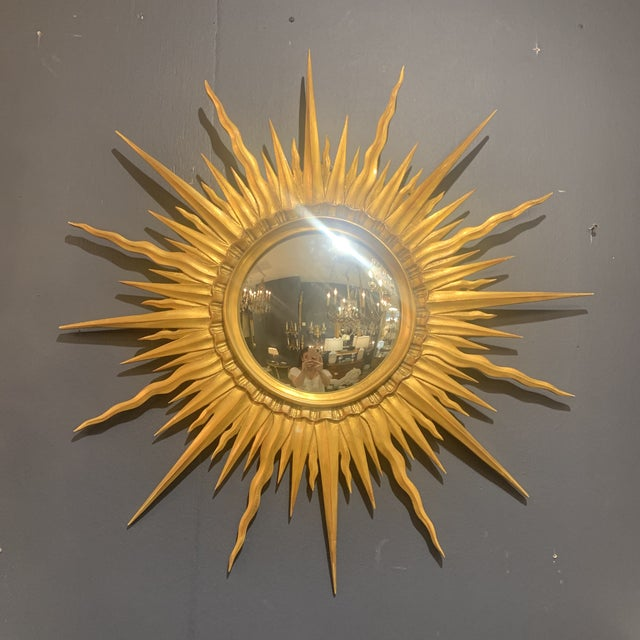 Gold Leaf Sunburst With Convex Mirror For Sale - Image 9 of 13