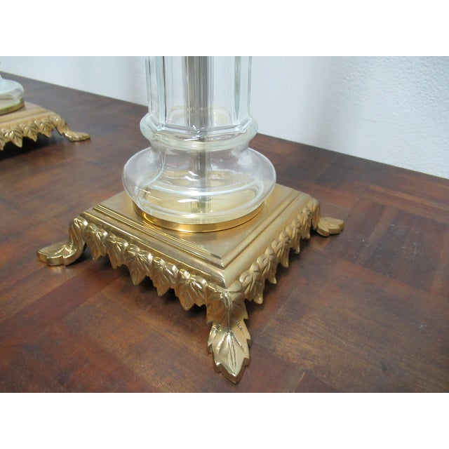 Gold Italian Regency Chapman Brass Glass Candelabras Candle Sticks - a Pair For Sale - Image 8 of 12
