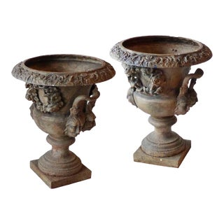 Early 20th Century Campagna Form Cast Iron Urns - a Pair For Sale