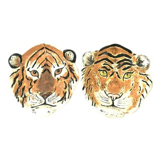 Hand Painted Tiger Plates - A Pair
