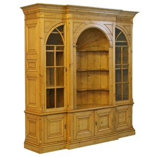 English Pine Bookcase Display Cabinet For Sale