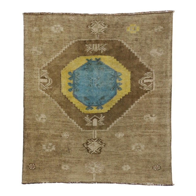Vintage Turkish Oushak Runner with Modern Contemporary Style, 3'11 x 4'4 For Sale