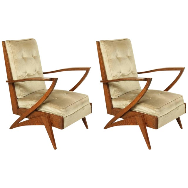 Pair of French Mid-Century Modern Wood and Upholstered Armchairs, Circa 1950 - Image 1 of 6