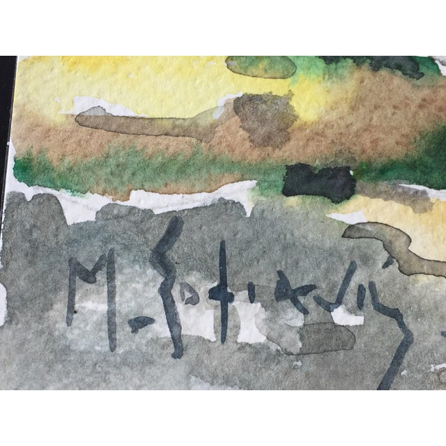 1970s Expressionist Watercolor Painting Mykonos : Listed Artist Sofianos For Sale - Image 5 of 6