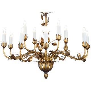 Vintage Gold Leaf Tole Chandelier For Sale