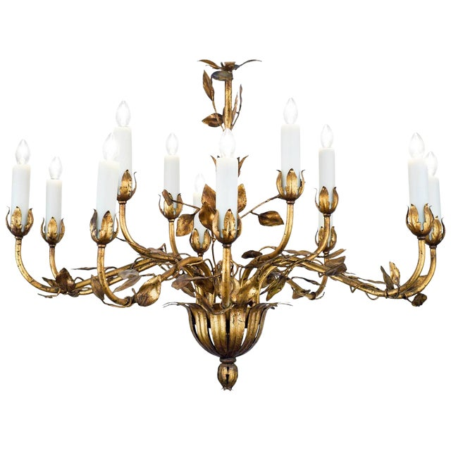 Vintage gold leaf tole chandelier chairish vintage gold leaf tole chandelier mozeypictures Image collections