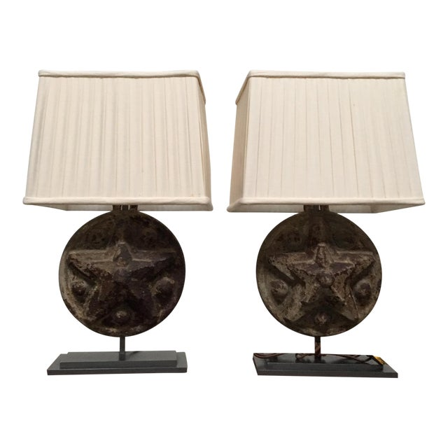 Circa 1860 Antique Iron Star Table Lamps - A Pair For Sale