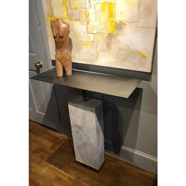 Mid-Century Style Limestone and Steel Console Table For Sale In Washington DC - Image 6 of 8