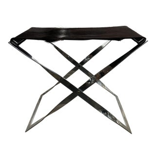 Stainless Folding Bench with Cowhide Top