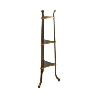 Baker Regency Style Black & Gold Small 3 Tier Etagere Stand