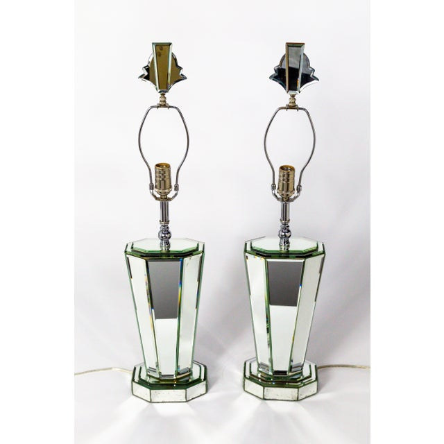 Modern Beveled Mirror & Chrome Lamps W/ Deco Finials - a Pair For Sale - Image 12 of 13