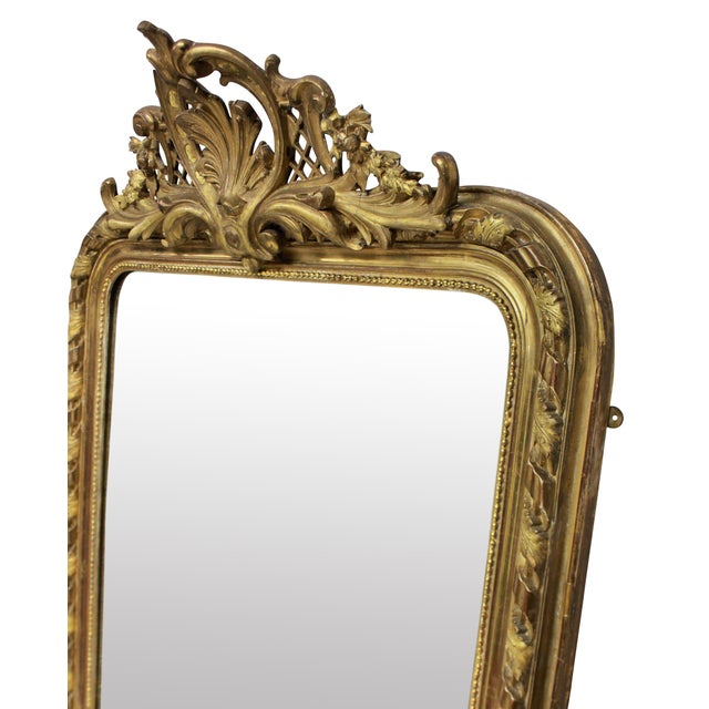 French A Fine French Water Gilded Overmantle Mirror For Sale - Image 3 of 4