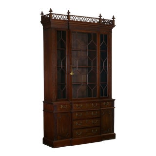 19th Century English George III Style Mahogany Antique Bookcase Cabinet For Sale