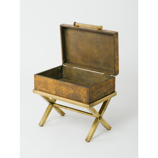 Leather Trunk on Brass Base by Hart Associates For Sale In New York - Image 6 of 12