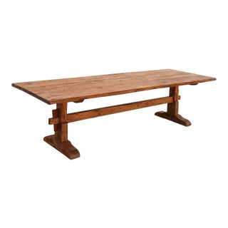 Rustic Trestle Table in Vintage Pine by Petersen Antiques For Sale