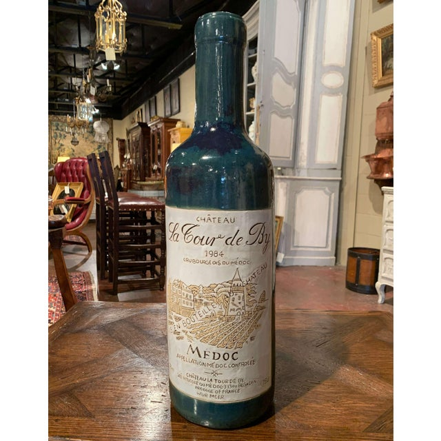 Late 20th Century Tall Vintage French Trompe l'Oeil Ceramic Methuselah Wine Bottle of Bordeaux For Sale - Image 5 of 12