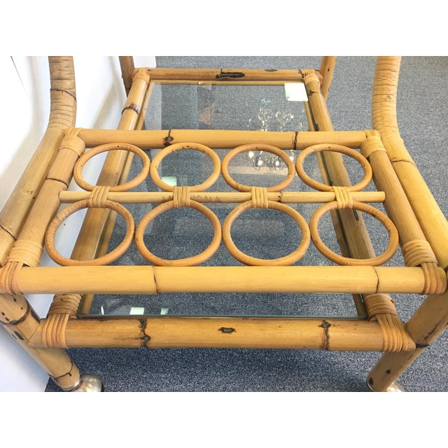 Vintage Bamboo & Rattan Bar Cart For Sale - Image 5 of 6