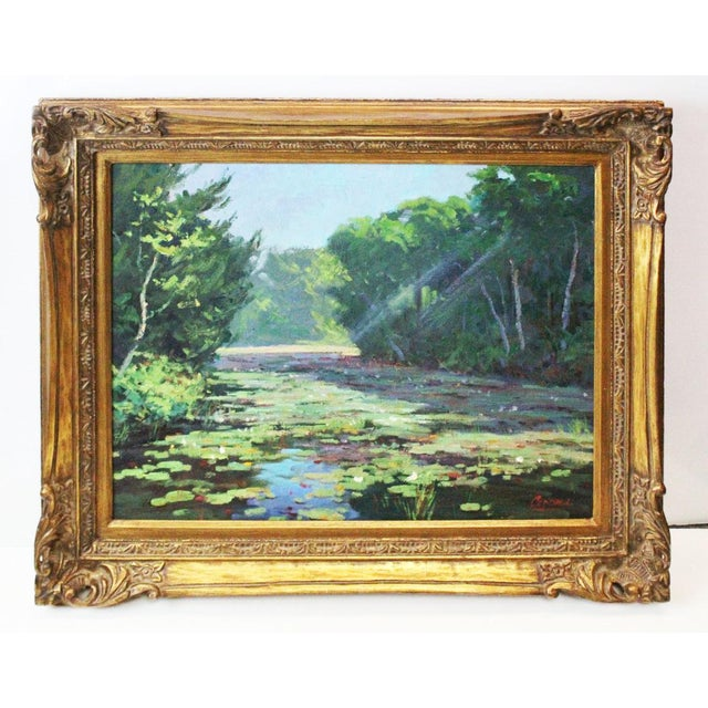 Green Caddell Spring Marsh Oil Painting For Sale - Image 8 of 8