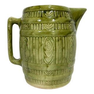 1940s Ironstone Green Pottery Barrel Pitcher For Sale
