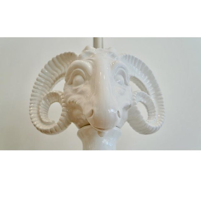 Pair Ceramic Rams Head Table Lamps - Image 6 of 9