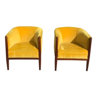 1940s French Art Deco Barrel Back Armchairs - a Pair For Sale